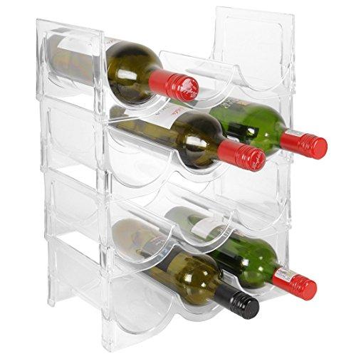 Sistema de botelleros para vino, FLASH, de plástico, para 12 botellas y apilable, extensible H 41 x 30,5 x 17,5 cm