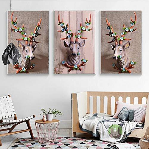 RHBNVR canvas schilderij 3 stuks klassiek canvas schilderij van anmial hert muurkunst foto poster printer van Home Office Decoration (zonder lijst)