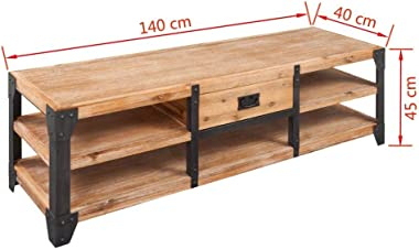Festnight TV Stand TV Cabinet Vase Stand Table with Drawer Storage 3 Layers Solid Acacia Wood 140x40x45 cm