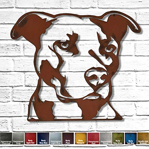 Pit Bull Bust - Metal Wall Art home decor - Handmade - Choose 11', 17' or 23' - Choose your Patina Color, and Choose from 20 different Dog Breeds! (see options) Canine Art