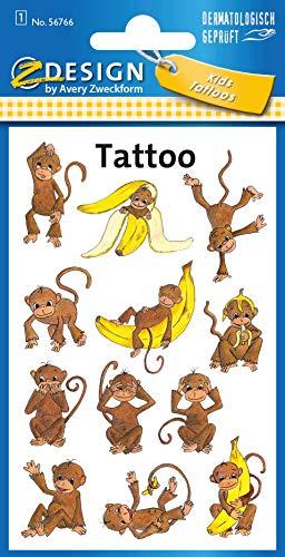 AVERY Zweckform 12 Tattoos Kinder Affen (Temporäre Tattoos, wasserfeste Kindertattoos, hautfreundliche Klebetattoos, Aufkleber für Jungen Mädchen Mitgebsel Kindergeburtstag Party) 56766