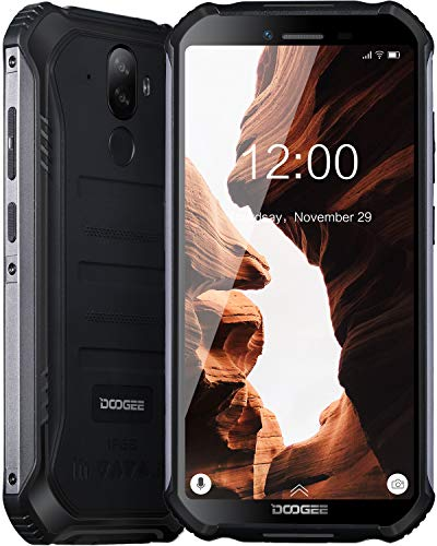 DOOGEE S40 Lite Telephone Portable Incassable Debloqué, Double SIM Android 9.0 Smartphone Etanche IP68/IP69K, 4650mAh 5.5 Pouces Quad-Core 2GO+16GO, Cameras 8MP+5MP, Empreinte Digitale Face ID, Noir