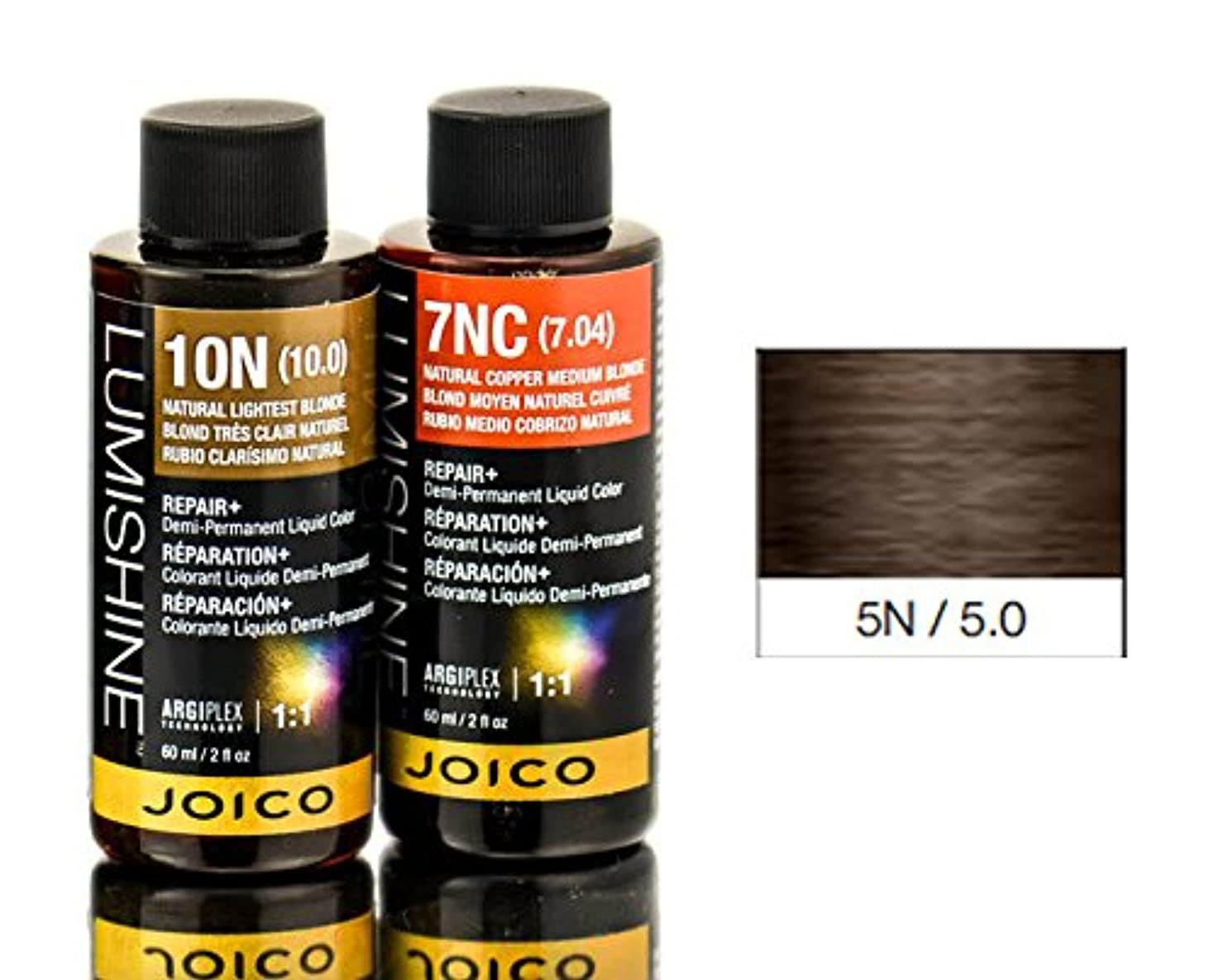 判定アンテナ神Joico Lumishineデミパーマネント液体色、ナチュラルライトブラウン5N / 5.0、 2オンス