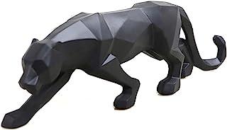LONGWEI Blanc Noir Panthère Sculpture Ornements Sculpture Géométrique Résine Léopard Statue Faune Décor Cadeau (Nior)