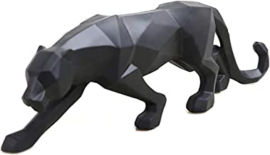 (Black) - wyhweilong White Black Panther Sculpture Ornaments Sculpture Geometric Resin Leopard Statue Wildlife Decor Gift ...