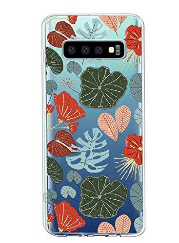 Suhctup Compatible con Samsung Galaxy S8+ Plus Funda Flor de TPU Transparente Diseño de Flores Patrón Cárcasa Ultra Fina Suave con Dibujos Claro Silicona Antigolpes Proteccion Caso(A4)