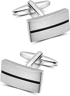 Gemelos Para Los Hombres, Rayas Simples Forma Geométrica del Metal Plateado Platino Gemelos, Letra Para el Regalo de Boda del Negocio
