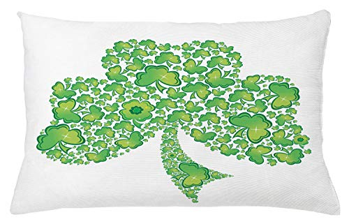 Lunarable Shamrock Throw Pillow Cushion Cover, Irish Saint Patrick's Day Pattern with Spring Season Celtic Charm Design, Decorative Square Accent Pillow Case, 26 X 16 Inches, Green and White