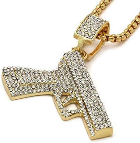 Jewel Town Mens Gold Plated Hip Hop CZ Gun Pendant 24 Box Chain Necklace product image