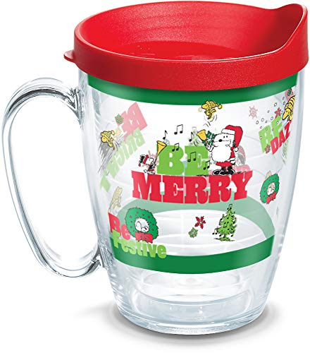 Tervis Peanuts Holiday 2019 Insulated Tumbler with Wrap and Red Lid, 16 oz, Clear