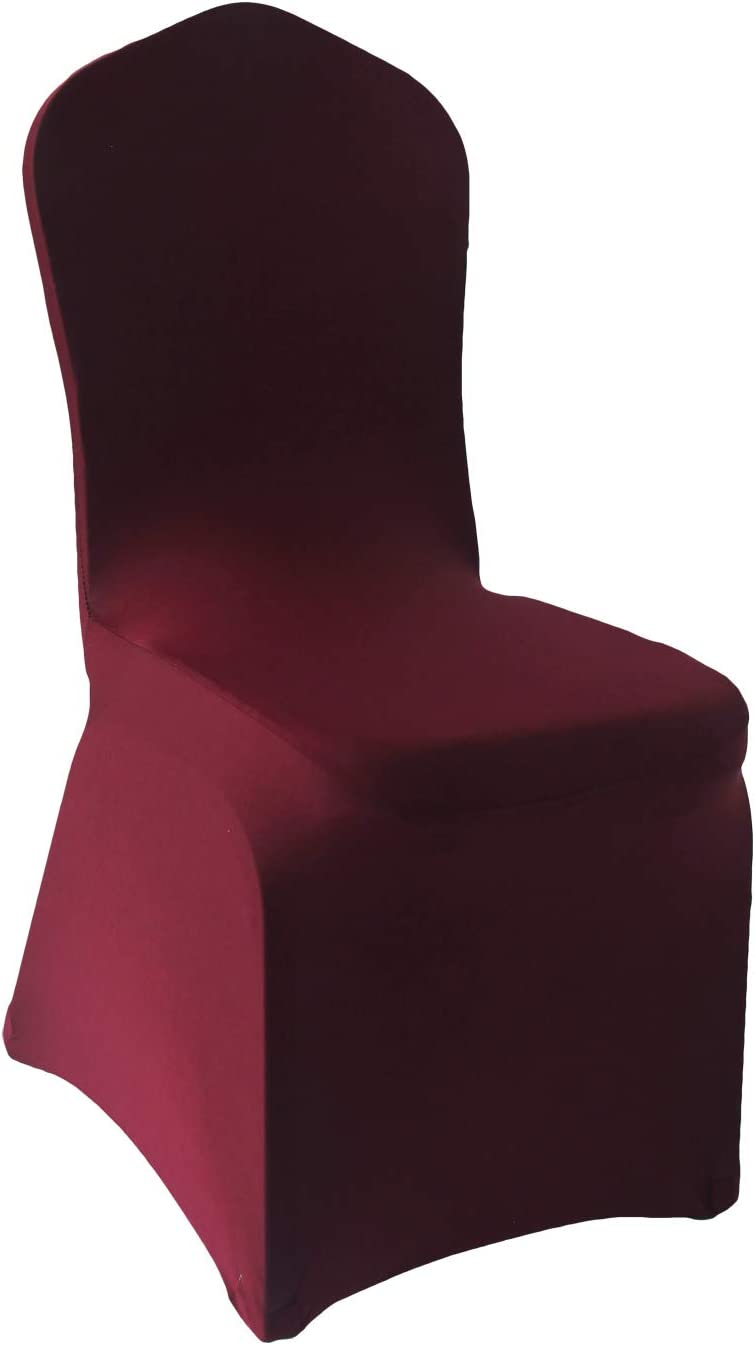 Welmatch Burgundy Spandex Chair Covers - free shipping pcs Wedding Banquet 50 free