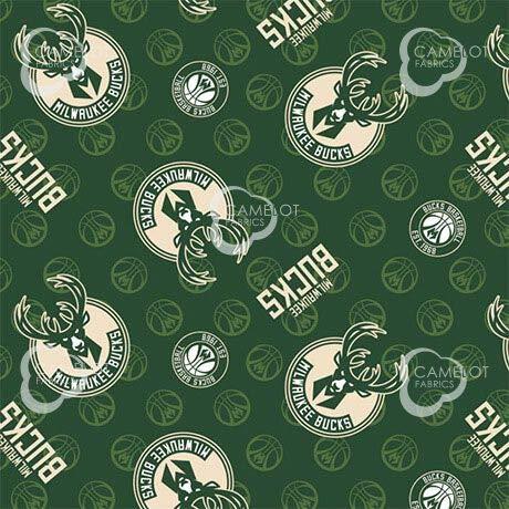 Fleece Milwaukee Bucks Green NBA Basketball Pro Sports Team Fleece Fabric Print by The Yard (A609.45)