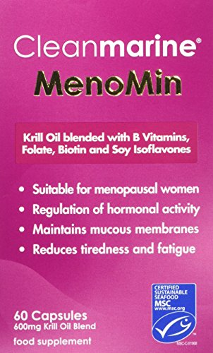 Cleanmarine Menomin - Menopause Support - Highly Absorbable Omega 3 with Soy Isoflavones - Vitamins B1, B2, B6, B12, Folic Acid, Biotin and D3-30 Servings, Omega 3 Krill Oil for Women - 60 Capsules