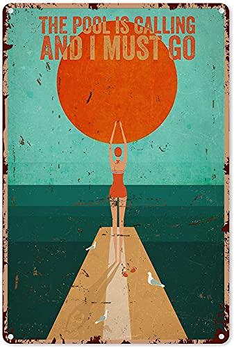Zwembad Tin Sign Meisje Het Zwembad Bellen en ik moet gaan zwemmen metalen bord 8×12 inch