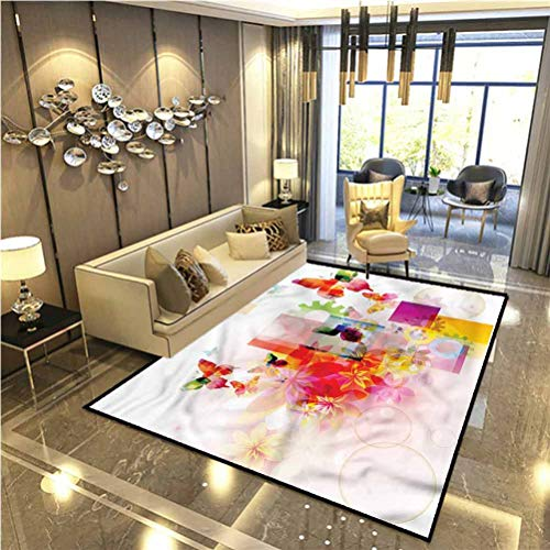 Abstract Patio Rugs Kitchen Rugs Non Skid Natural Flowers Home Decor Floor Carpet 2 x 3 Ft