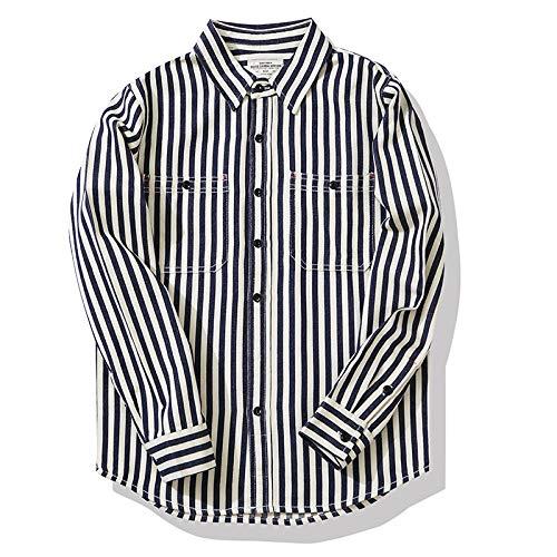 Camisa de Manga Larga para Hombre Camisa de Rayas Verticales Retro Ropa de Trabajo Camisa de Manga Larga Camisa de Manga Larga con Solapa de Moda Informal S