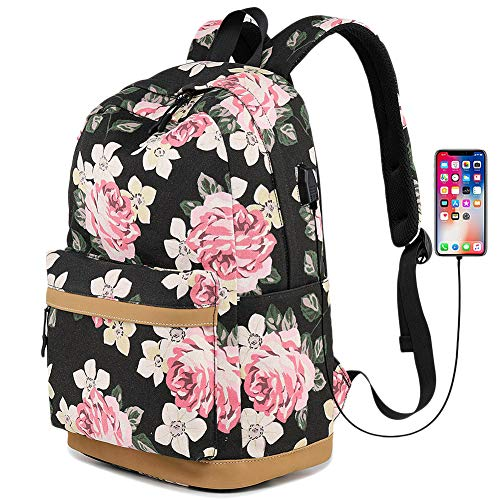 Backpack Flower Print Backpack,GodBank Store Flower Print Multi-pocket Backpack School Laptop Travel Bookbag with USB Port Black