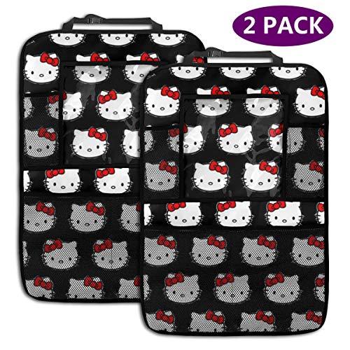 TBLHM Hello Kitty Lot de 2 Sacs de Rangement pour siège arrière de Voiture avec Support pour Tablette Noir