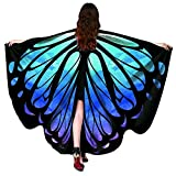 HitHopKing Butterfly Wings Costume for Women for Carnival, Women's Beautiful Eye-Catcher Butterfly Wings Scarf Costume Accessories Green (Blue 14, 66' x 53')
