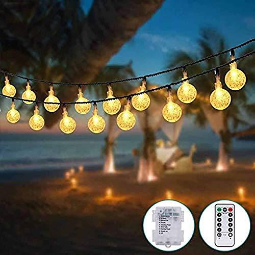 Guirnalda Luces Pilas [2 Pack], Kolpop 3m 30 LED Bola de Cristal Luces LED Pilas, Guirnalda Bombillas Cadena de Luces Decoracion para Navidad Terraza Hogar Jardín Arboles Patio Bodas Fiesta Interior