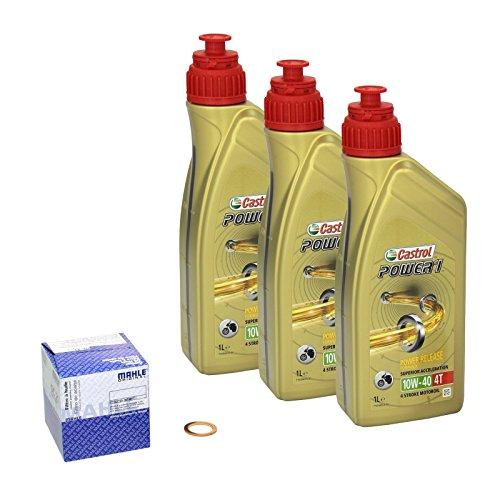 Castrol Power1 (10W-40) Ölwechsel-Set  Savage 650 (LS 650), Bj. 86-00 - Motoröl, Mahle Ölfilter und Dichtring