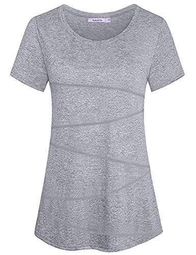 Sykooria Camiseta Deportiva Mujer Fitness de Manga Corta Tops de Yoga Camiseta Holgada Informal Transpirable de Secado Rápido Ropa Deportiva Entrenamiento Atlético-Gris Clair-L