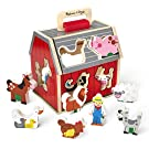 Melissa & Doug Wooden Take-Along Sorting Barn Toy with Flip-Up Roof and Handle – 10 Wooden Farm Play Pieces