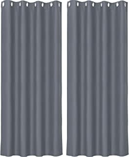 PiccoCasa 100% Polyester Blockout Window Curtain Panel Window Treatment Panels Thermal Insulated Rod Pocket 52x84 Inch for...