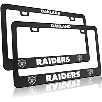 Rust-Proof for Raiders Rattle-Proof SAFUL License Plate Frames 2 PCS Aluminum Alloy License Plate Holder,Fit for Las Vegas Raiders Universal American Auto Licence Plate Frame Covers