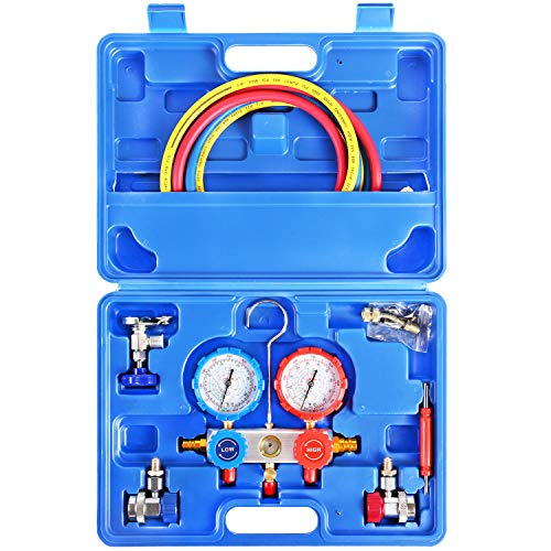 JIFETOR Juego de manómetro de 3 vías de CA, herramienta de carga para freón de diagnóstico HVAC para refrigerador Auto Household R22 R134A R404A R410A, manguera ajustable de 5...