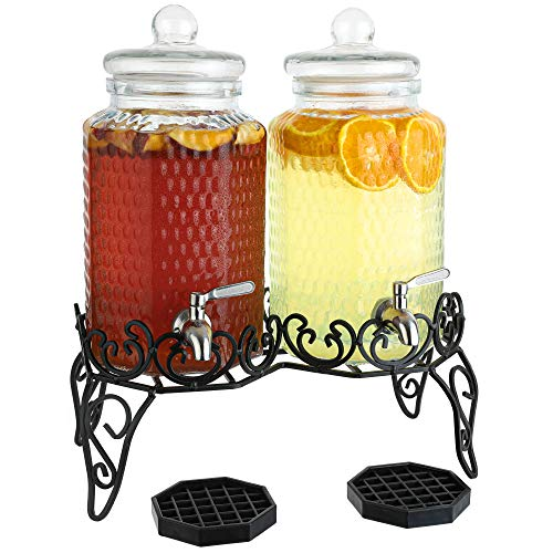Dual Gallon Glass Beverage Dispensers with Decorative Metal Stand, Stainless Steel Spigot, Drips Trays - Double Drink Dispenser Station for Parties, Weddings and Holidays