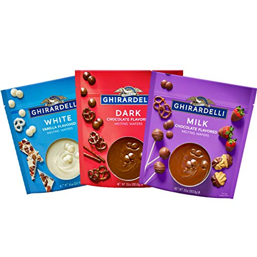 Ghirardelli Melting Chocolate Wafers Baking Variety Pack with Dark White Milk Chocolates for Baked Goods, Fondue and Candy Dipping, Set of 3, 10 Ounce