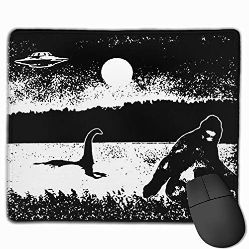 Bigfoot Loch Ness Monster UFO Sasquatch Alien Mouse Pad Non-Slip Gaming Mouse Pad with Stitched Edge Computer Pc Mousepad Rubber Base for Office Home