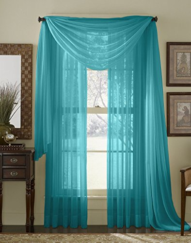 "Luxury Discounts 3 Piece Sheer Voile Curtain Panel Drape Set Includes 2 Panels and 1 Scarf (95"" Length, Turquoise)"