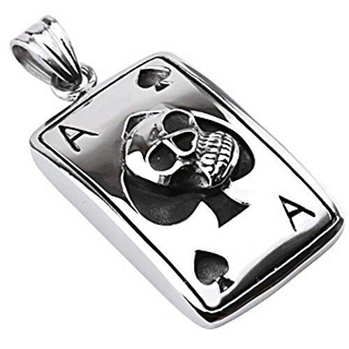 Bungsa® Kettenanhänger Totenkopf Ass Skull Poker Casino Ace Spades Edelstahl silber schwarz (Pendant Anhänger Charm Beads Chirurgenstahl Damen Herren Schmuck)
