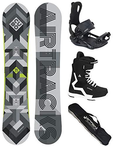 Airtracks Snowboard Set/Board Cubo Wide 165 + Snowboard Bindung Master + Boots Savage Black 44 + Sb Bag