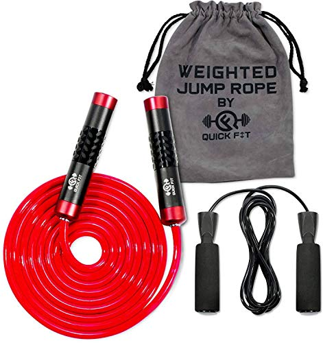 QuickFit Jump Rope Set of 2 Weighted & Non-Weighted Skipping Cords - Portable Exercise Accessory for Cardio, HIIT, Endurance - Fun Workout Aid for Burning Heavy Calories - Ball Bearing Handles