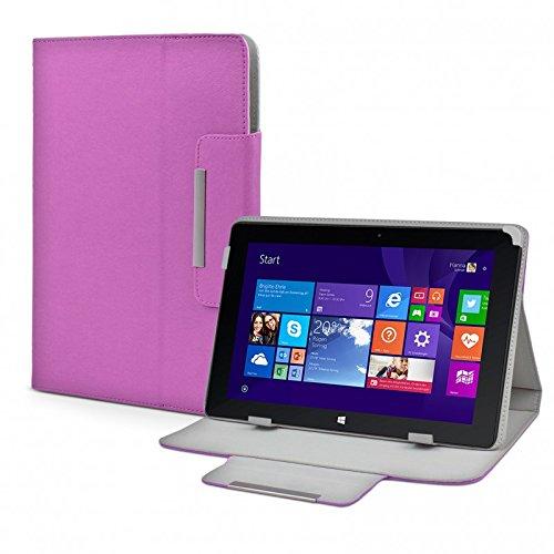 eFabrik Tasche für TrekStor Volks-Tablet SurfTab wintron 10.1 3G Volks-Tablet 3 Hülle Zubehör Schutzhülle mit Aufsteller Leder-Optik lila