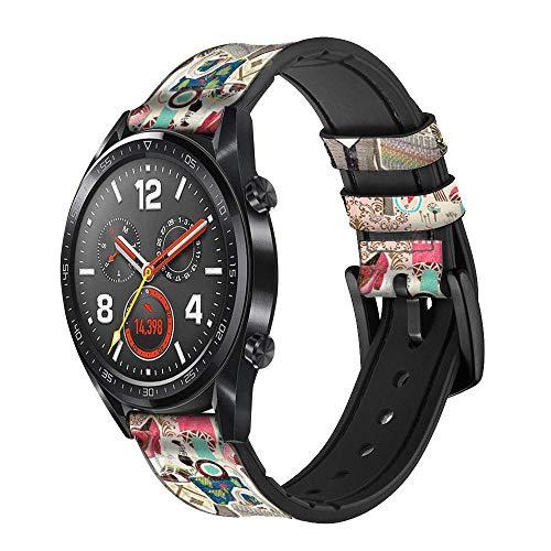 Innovedesire Fashion Vintage Pattern Correa de Reloj Inteligente de Cuero y Silicona para Wristwatch Smartwatch Smart Watch Tamaño (20mm)