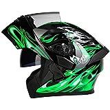 Balscw Casco de motocicleta con visera solar, color verde, M-XXXL, con visera solar, 54 – 65 cm, casco de motocicleta abatible, casco de cara completa, verde