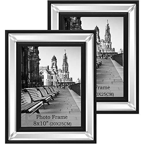 qmdecor 8x10 Inch Mirror Photo Frame for Table Top Display and Wall -