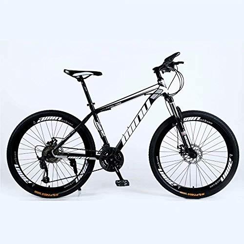 Qinmo VTT, VTT Pays 24/26 Pouces avec Double Disque de Frein, VTT Adulte, Semi-Rigide vélo avec siège réglable, épaissie Carbone Cadre en Acier (Color : 21-Stage Shift, Size : 24inches)