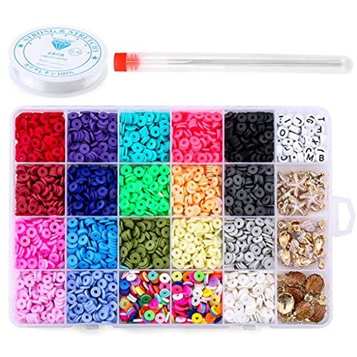 WANMEI - Cuentas para hacer joyas, pulseras, collares, pendientes, kit de manualidades con cuentas redondas con agujas de alambre de 6 mm