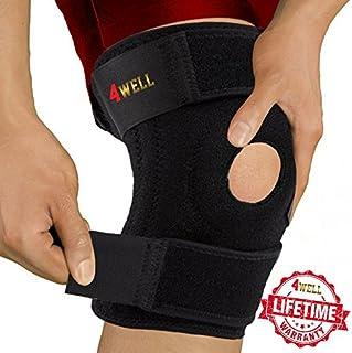 4well Knee Patella Support Brace for Men Women - Best Open Patella Knee Stabilizer for Walking Injury Recovery Running Sport ACL - Non Slip Comfortable Adjustable Knee Brace Neoprene. (FDA Approved)