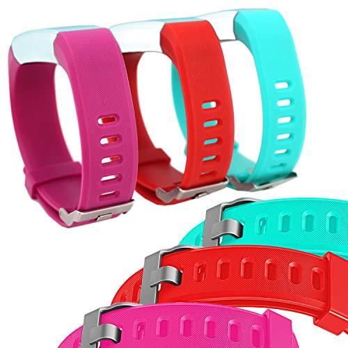 Waargroup - Bandas de Repuesto para Reloj Inteligente Fitness Tracker Modelo id115 Plus HR Pack de 3 Bandas de Colores Verde, Rojo y Morado para Hombres, Mujeres y niños.