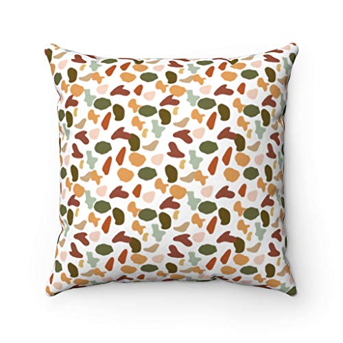 Promini Abstract Pillow Cover, Mint Forest Green, Yellow Red Beige, Terrazzo Abstract Art, Decorative Pillowcase Throw Pillow Covers Case Cushion for Sofa Home Decor 20 x 20 Inches