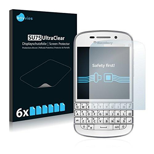 Savvies 6X Schutzfolie kompatibel mit BlackBerry Q10 Bildschirmschutz-Folie Ultra-transparent