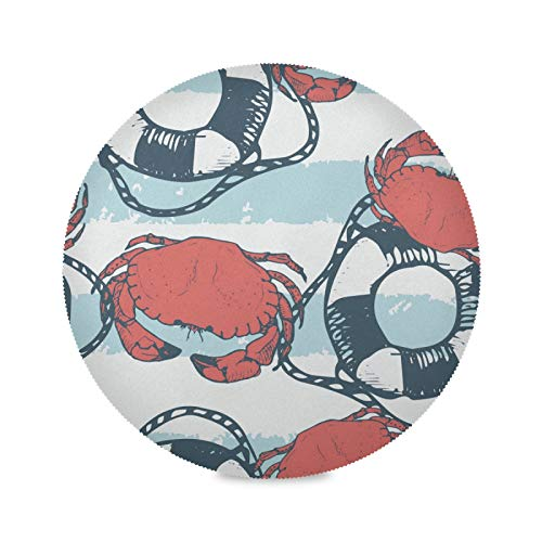 Coatduaiw Round Placemats Table Mats Crab Life Buoy Stripe Polyester Non-Slip Heat Resistant for Kitchen Dining Table Home Set of 1