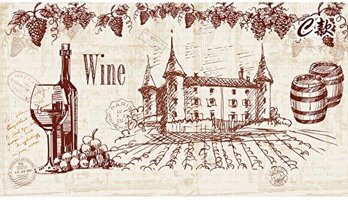 BXZGDJY Zelfklevende muurschildering 3D Retro Nostalgische Bier Rode Wijn Thema Restaurant Behang Wijn Kelder Cultuur Bar Hout Graan Behang (W)350x(H)256 cm   7 stripes