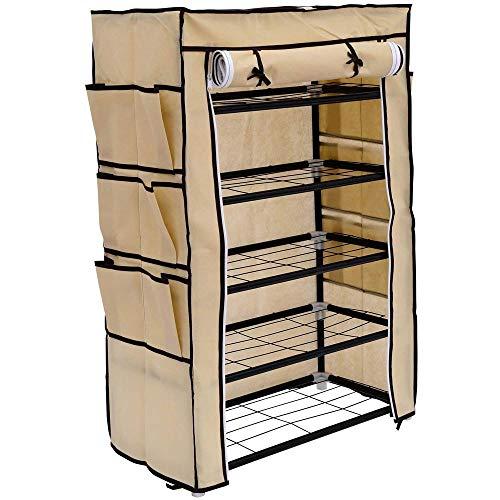 BAKAJI Zapatero para ahorrar espacio, 6 estantes, 60 x 30 x 90 cm, hasta 18 pares de zapatos, estructura de acero y revestimiento de tela TNT impermeable con cierre de cremallera antipolvo (beige)